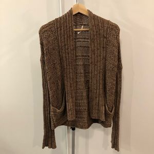 Free People 100% Cotton Open Front Knit Cardigan